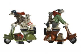 FIGURE RESIN 23X10X23 MOTORCYCLE DOGS 2 MOD.