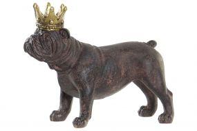 FIGURE RESIN 15X6,5X12 BULLDOG DOG CORONA BROWN