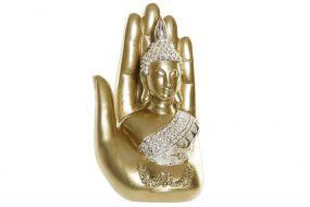 FIGURE RESIN 11X7X18 HAND BUDDHA GOLDEN