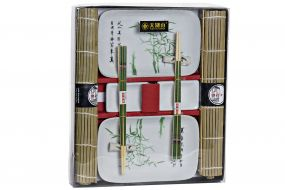 SUSHI SET 8 BAMBOO PORCELAIN 31X27X3,5 BAMBOO