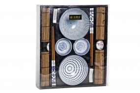 SUSHI SET 10 BAMBOO PORCELAIN 31,5X27X6 BLUE