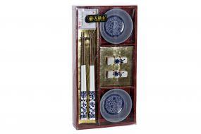 SUSHI SET 6 WOOD MELAMINE 31X16X4 BLUE