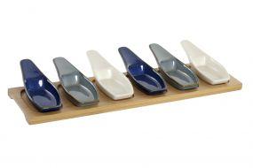 APERITIF SET 7 BAMBOO PORCELAIN 36X9,7X1,3 BLUE
