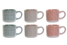 COFFEE SET 6 STONEWARE 8,5X6X5 90 ML, PINK