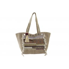 HANDBAG JUTE COTTON 55X20X32 BEIGE