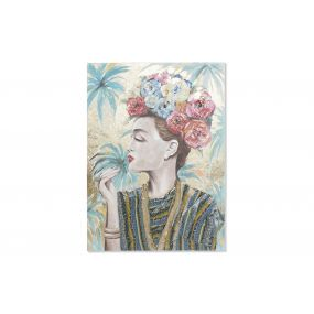 PICTURE CANVAS WOOD 90X3,8X120 FRIDA HAND PAINTED