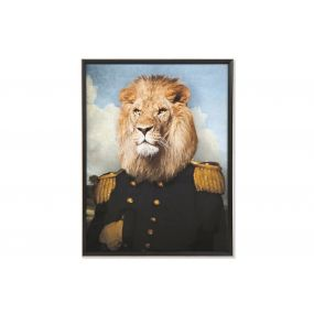 PICTURE MDF GLASS 74X3X97 LION FRAMED
