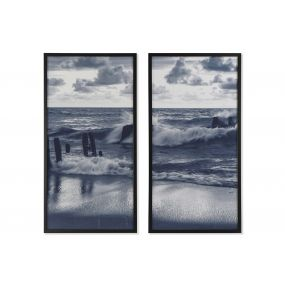 PICTURE MDF GLASS 53X3X103 WAVES FRAMED 2 MOD.