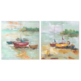 PICTURE CANVAS 60X2,5X60 BOATS HAND PAINTED 2 MOD.