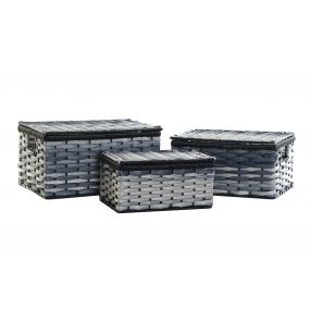 BASKET SET 3 PVC METAL 40X28X21 BLUE