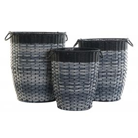 BASKET SET 3 PVC METAL 40X48 BLUE