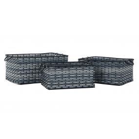 BASKET SET 3 PVC 54X38X25 BLUE