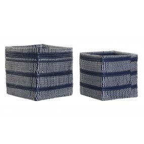 BASKET SET 2 FIBER 32,5X32,5X30 BLUE