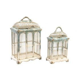 CAGE SET 2 METAL 35X22X52 DECOR AGED