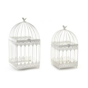 CAGE SET 2 METAL 23X23X46 BIRD WHITE