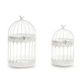 CAGE SET 2 METAL 25X44 BIRD WHITE