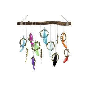 HANGING DECORATION FEATHERS WOOD 52X3X45 NATURAL