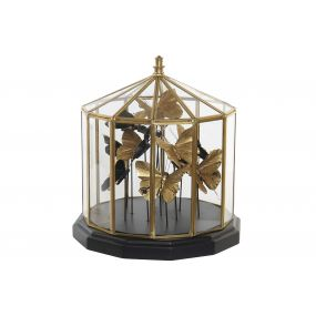 DECORATION GLASS STEEL 26X26X27 26 BUTTERFLIES