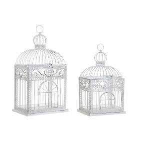 CAGE SET 2 METAL 28X20X54 DECAPE WHITE