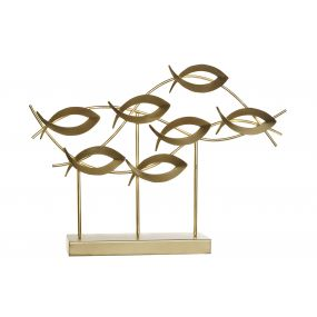 DECORATION METAL 55X10X41 FISHES GOLDEN