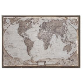 PICTURE WOOD JUTE 122X85X5 WORLD MAP