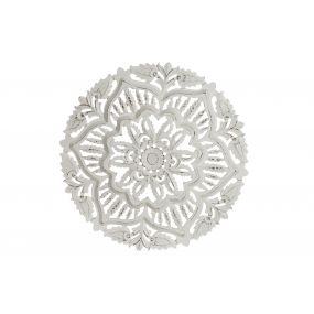 WALL DECORATION WOOD 60X5X60 3D WHITE