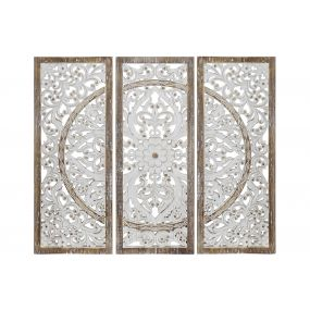 WALL DECORATION SET 3 MDF 90X3X80 ETHNIC WHITE