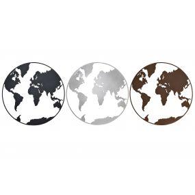 WALL DECORATION METAL 100X1X100 WORLD MAP 3 MOD.