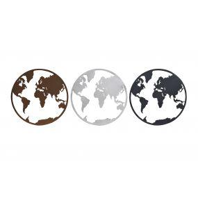 WALL DECORATION METAL 40X1X40 WORLD MAP 3 MOD.