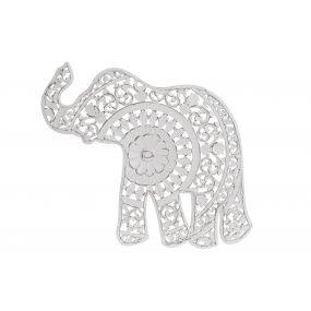 WALL DECORATION MDF 66X1,5X63 ELEPHANT WHITE