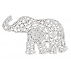 WALL DECORATION MDF 44X1,5X26,3 ELEPHANT WHITE