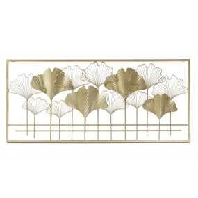 WALL DECORATION METAL 102X2X46 LEAVES GOLDEN
