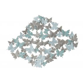 WALL DECORATION METAL 100X4X75 BUTTERFLY BLUE