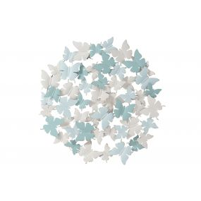 WALL DECORATION METAL 75X4X75 BUTTERFLY WHITE