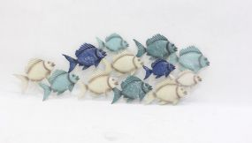 WALL DECORATION METAL 102X1,5X39 FISHES BLUE