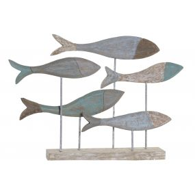 FIGURE MANGO METAL 78X10X53 FISHES AGED TURQUOISE
