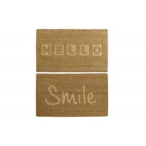 FELPUDO FIBRA COCO 75X45X1,5 HELLO SMILE 2 SURT.