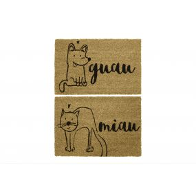 DOORMAT COCO FIBER PVC 60X40X1,5 CAT DOG 2 MOD.
