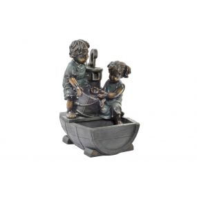 FOUNTAIN RESIN LED 44X38X62 CHILDREN GREY