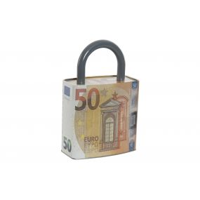 MONEY BOX METAL 16X8,8X24,8 16 50 EUROS ORANGE