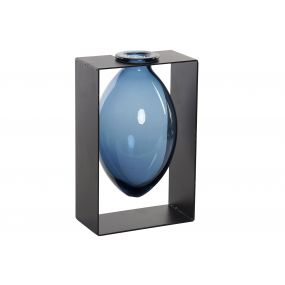 VASE GLASS METAL 15,5X12X25 SUPPORT BLUE