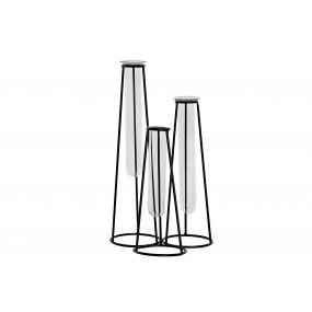 VASE GLASS METAL 17X16X31 TRIPLE BLACK