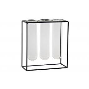 VASE GLASS METAL 21X8X23 BLACK