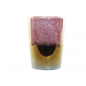 VASE GLASS 20X20X27 IRIDESCENT PINK