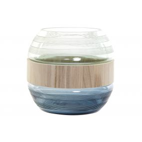 VASE GLASS WOOD 25X25X22 NAVY BLUE