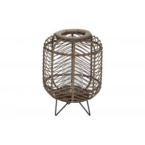CANDLE HOLDER RATTAN GLASS 28X28X39 NATURAL BROWN
