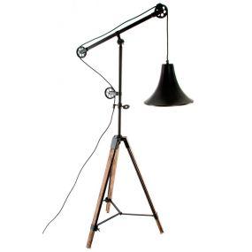 LAMPARA PIE METAL MADERA 71X75X178