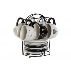 COFFEE SET 6 DOLOMITE METAL 21X20X23,5 180 ML.