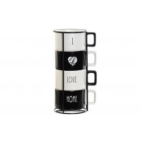 COFFEE SET 4 DOLOMITE METAL 13,5X10,5X25,5 260 ML.