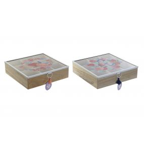 TEA BOX MDF GLASS 24X24X7 PEACHES 2 MOD.